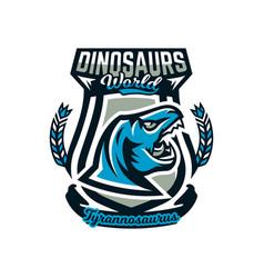 Logo emblem of dinosaur jurassic period vector