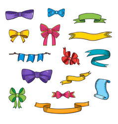 Doodle style banner sketch ribbons and bows on vector