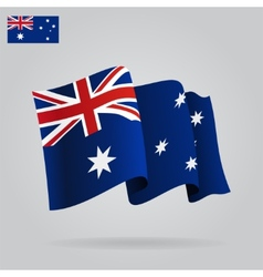 Flat and waving australian flag vector