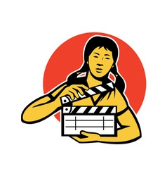 Asiian woman girl with movie clapboard vector