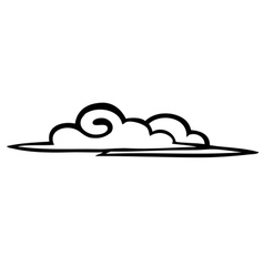 Sketch clouds on a white background icon vector