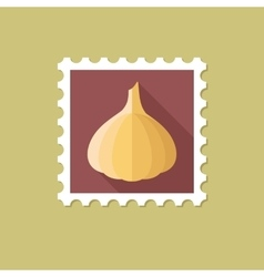 Garlic flat stamp with long shadow vector