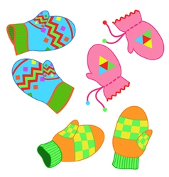 Set of paired colorful patterned winter mittens vector