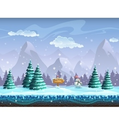 Seamless cartoon background with winter landscape vector