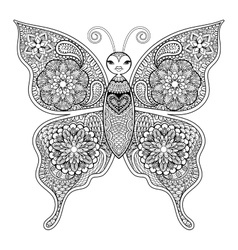 Zentangle butterfly for adult anti stress vector