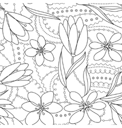 Coloring antistress with crocuses flowers vector