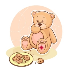 Teddy beareating cookies vector