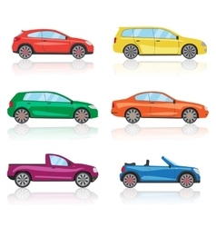 Cars icons set 6 different colorful 3d sports car vector image