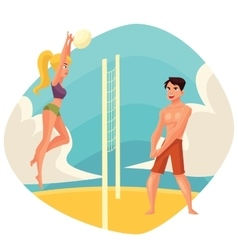 Young man and woman playing volleyball on the vector