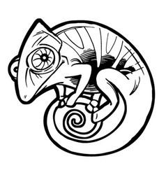 chameleon tattoo black stylized cartoon cute vector image