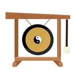 Chinese gong with yin and yang symbol hammer vector
