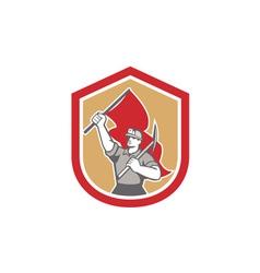 Coal Miner Hardhat Pick Axe Flag Shield vector image vector image