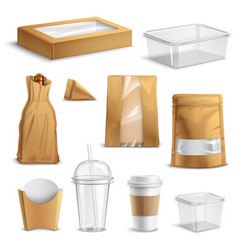 fastfood takeaway packaging realistic set vector image