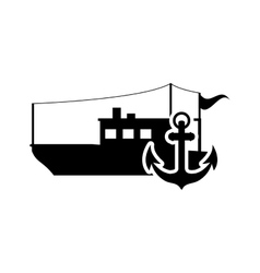 fishing boat and anchor icon vector image vector image