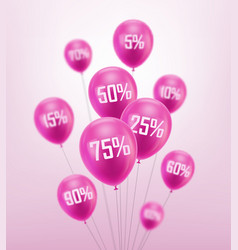 flying pink discount balloon vector image