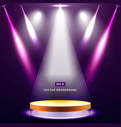 gold stage with spotlight and star on purple vector image vector image