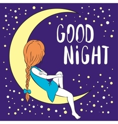 Good night greeting card vector