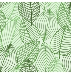 Green foliage seamless pattern of outline leaves vector image vector image