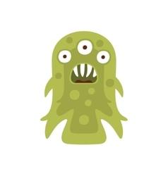 Green three-eyed aggressive malignant bacteria vector