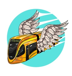 Hand drawn of modern tram car with wings concept vector