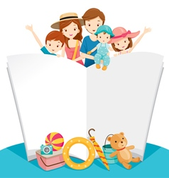 Happy Family With Summer Trip and Notebook vector image vector image