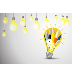 Idea concept of stationery in the lightblub vector image vector image