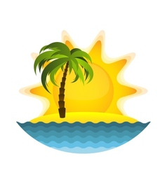 Island with palm vector image
