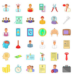 Job offer icons set cartoon style vector