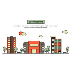 modern street scenery in flat design style vector image vector image