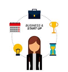 Portrait business woman bulb trophy calendar vector