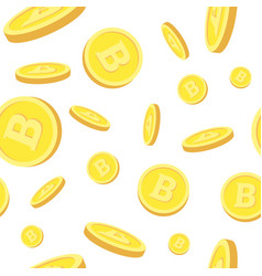 seamless pattern with realistic bitcoins falling vector image