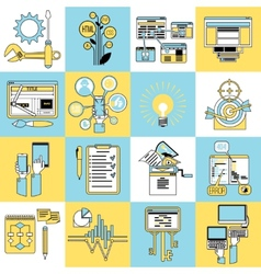 Seo icons set line vector image vector image