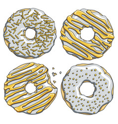 set of silver donuts with a gold cream vector image vector image