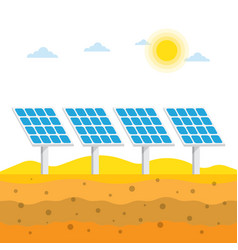 Solar panels in the desert vector
