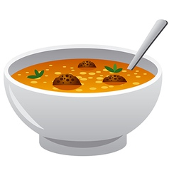 soup with meatballs vector image vector image