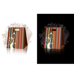 striped shopping bags with floral decorations vector image vector image