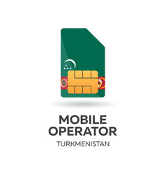 Turkmenistan mobile operator sim card with flag vector
