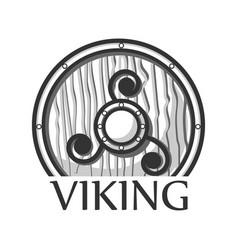 Wooden viking shield vector