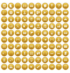 100 fence icons set gold vector