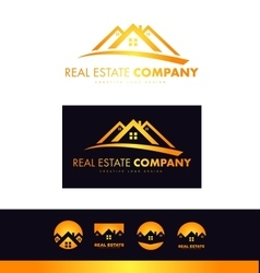 Real estate orange house roof logo icon design vector