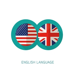 English language icon usa uk flags vector