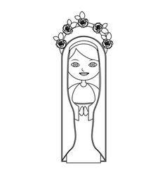 Monochrome contour of beautiful virgin with crown vector