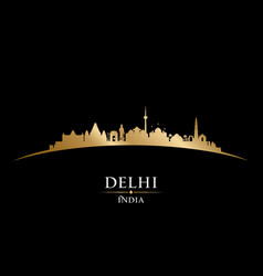 Delhi india city skyline silhouette black vector