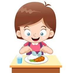 Girl eating vector