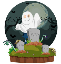 Scene with ghost in graveyard vector