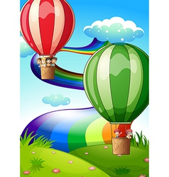Floating balloons with kids vector image