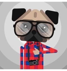 Cute fashion hipster pug dog pet vector