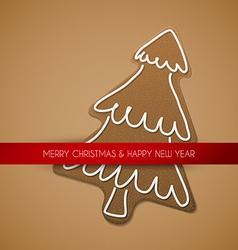 Christmas card - gingerbread tree vector image
