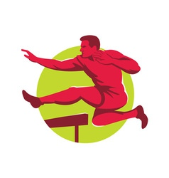 Athlete jumping hurdles side vector