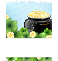 Leprechaun pot with gold coins and shamrock clover vector